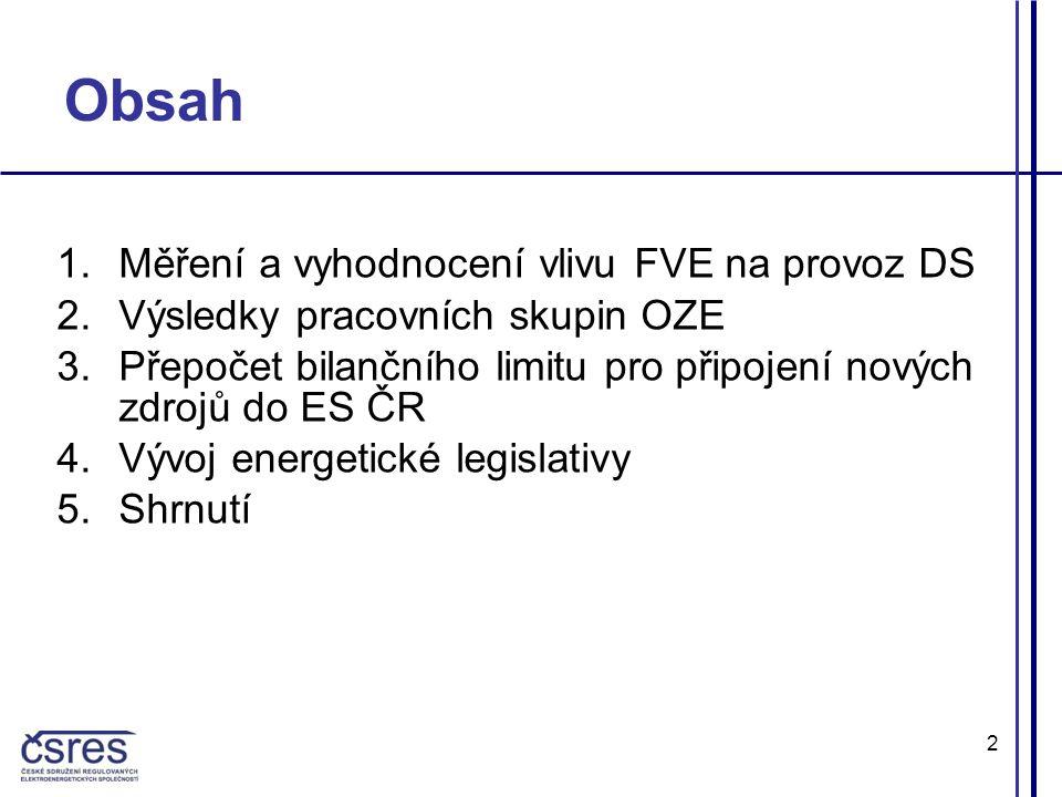 2 Obsah 1.Měření a vyhodnocení vlivu FVE na provoz DS 2.Výsledky pracovních skupin OZE 3.Přepočet bilančního limitu pro připojení nových zdrojů do ES ČR 4.Vývoj energetické legislativy 5.Shrnutí