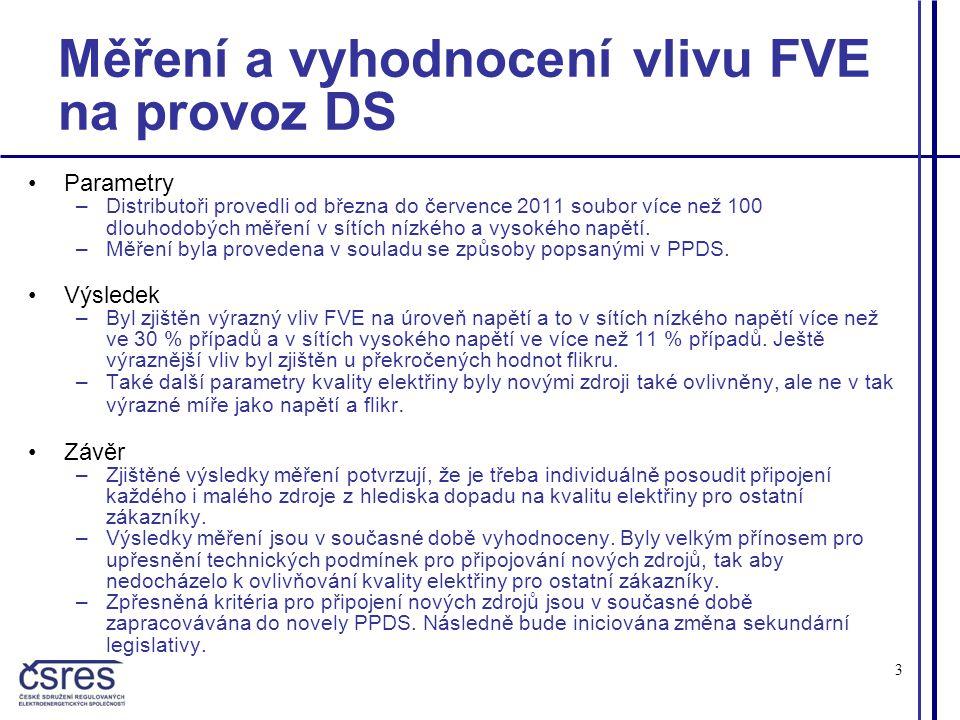 3 Měření a vyhodnocení vlivu FVE na provoz DS •Parametry –Distributoři provedli od března do července 2011 soubor více než 100 dlouhodobých měření v sítích nízkého a vysokého napětí.