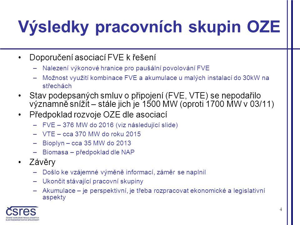 4 Výsledky pracovních skupin OZE •Doporučení asociací FVE k řešení –Nalezení výkonové hranice pro paušální povolování FVE –Možnost využití kombinace FVE a akumulace u malých instalací do 30kW na střechách •Stav podepsaných smluv o připojení (FVE, VTE) se nepodařilo významně snížit – stále jich je 1500 MW (oproti 1700 MW v 03/11) •Předpoklad rozvoje OZE dle asociací –FVE – 376 MW do 2016 (viz následující slide) –VTE – cca 370 MW do roku 2015 –Bioplyn – cca 35 MW do 2013 –Biomasa – předpoklad dle NAP •Závěry –Došlo ke vzájemné výměně informací, záměr se naplnil –Ukončit stávající pracovní skupiny –Akumulace – je perspektivní, je třeba rozpracovat ekonomické a legislativní aspekty