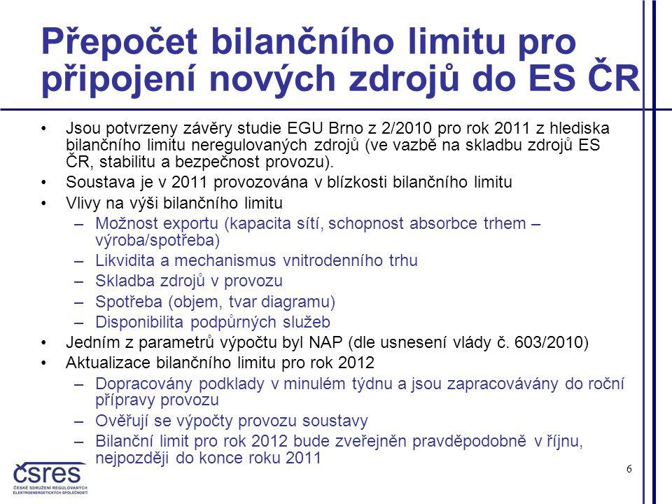 6 Přepočet bilančního limitu pro připojení nových zdrojů do ES ČR •Jsou potvrzeny závěry studie EGU Brno z 2/2010 pro rok 2011 z hlediska bilančního limitu neregulovaných zdrojů (ve vazbě na skladbu zdrojů ES ČR, stabilitu a bezpečnost provozu).