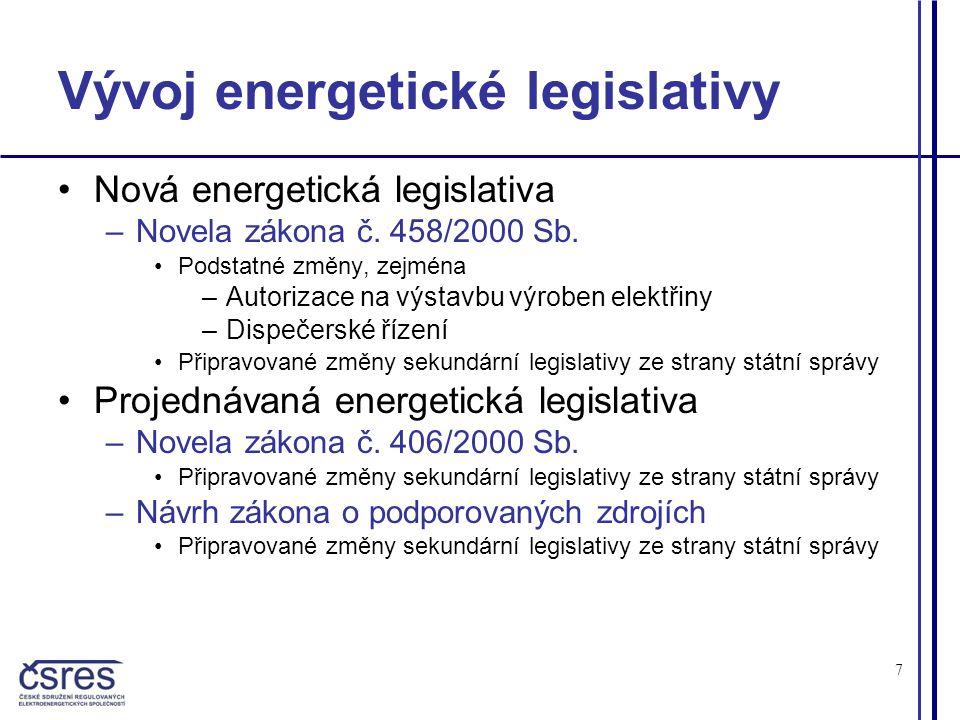 7 Vývoj energetické legislativy •Nová energetická legislativa –Novela zákona č.