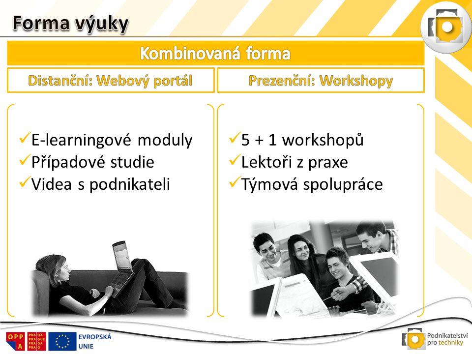  E-learningové moduly  Případové studie  Videa s podnikateli  5 + 1 workshopů  Lektoři z praxe  Týmová spolupráce