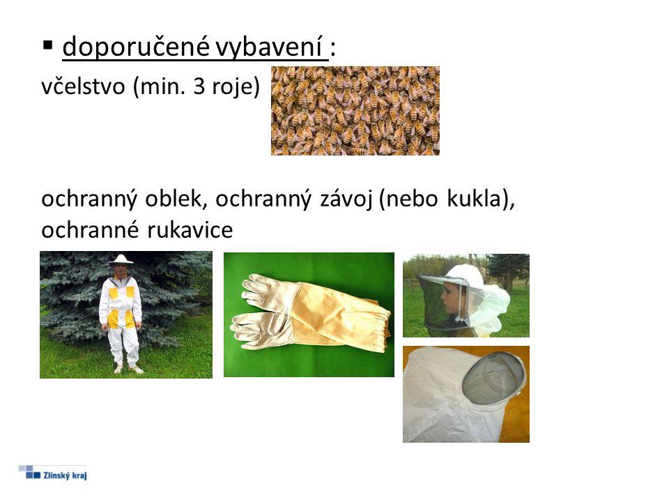  doporučené vybavení : včelstvo (min. 3 roje) ochranný oblek, ochranný závoj (nebo kukla), ochranné rukavice
