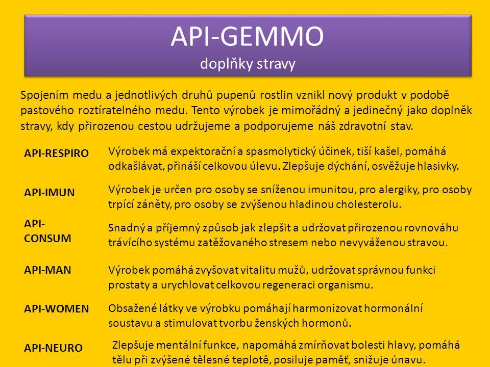 API-GEMMO doplňky stravy Spojením medu a jednotlivých druhů pupenů rostlin vznikl nový produkt v podobě pastového roztíratelného medu. Tento výrobek j