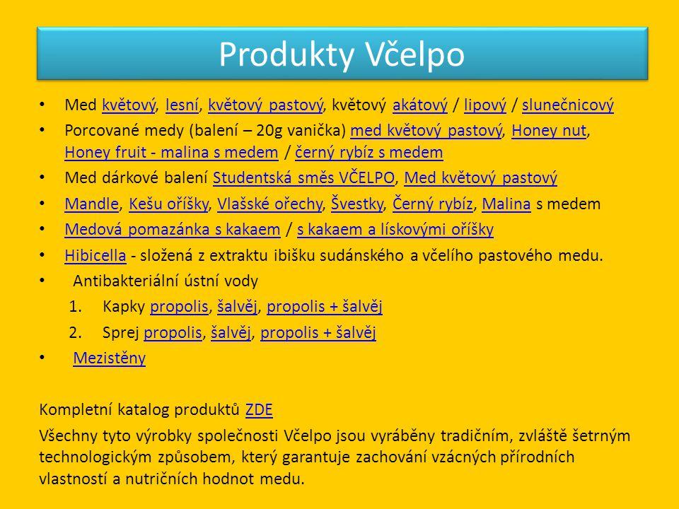 Produkty Včelpo • Med květový, lesní, květový pastový, květový akátový / lipový / slunečnicovýkvětovýlesníkvětový pastovýakátovýlipovýslunečnicový • P