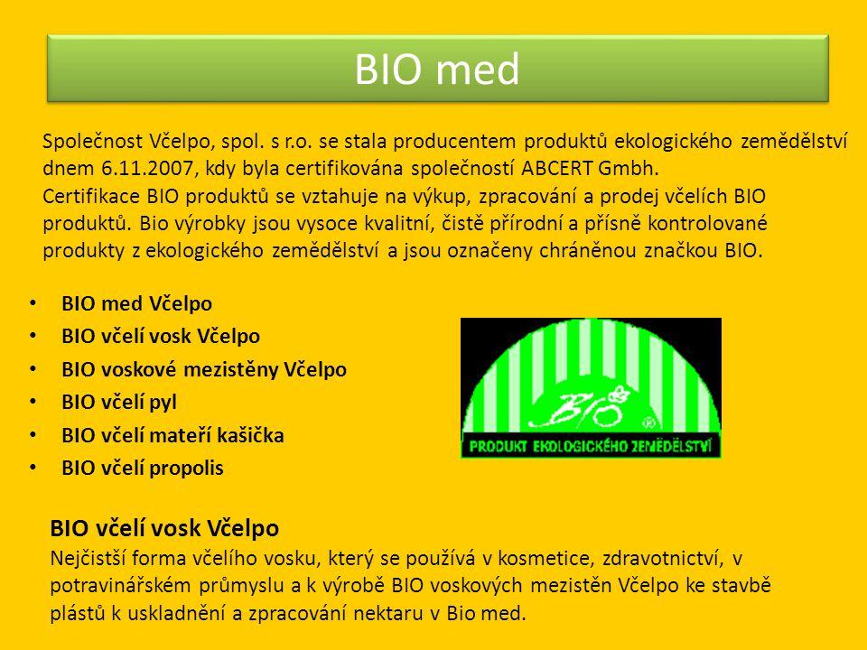 BIO med • BIO med Včelpo • BIO včelí vosk Včelpo • BIO voskové mezistěny Včelpo • BIO včelí pyl • BIO včelí mateří kašička • BIO včelí propolis BIO vč