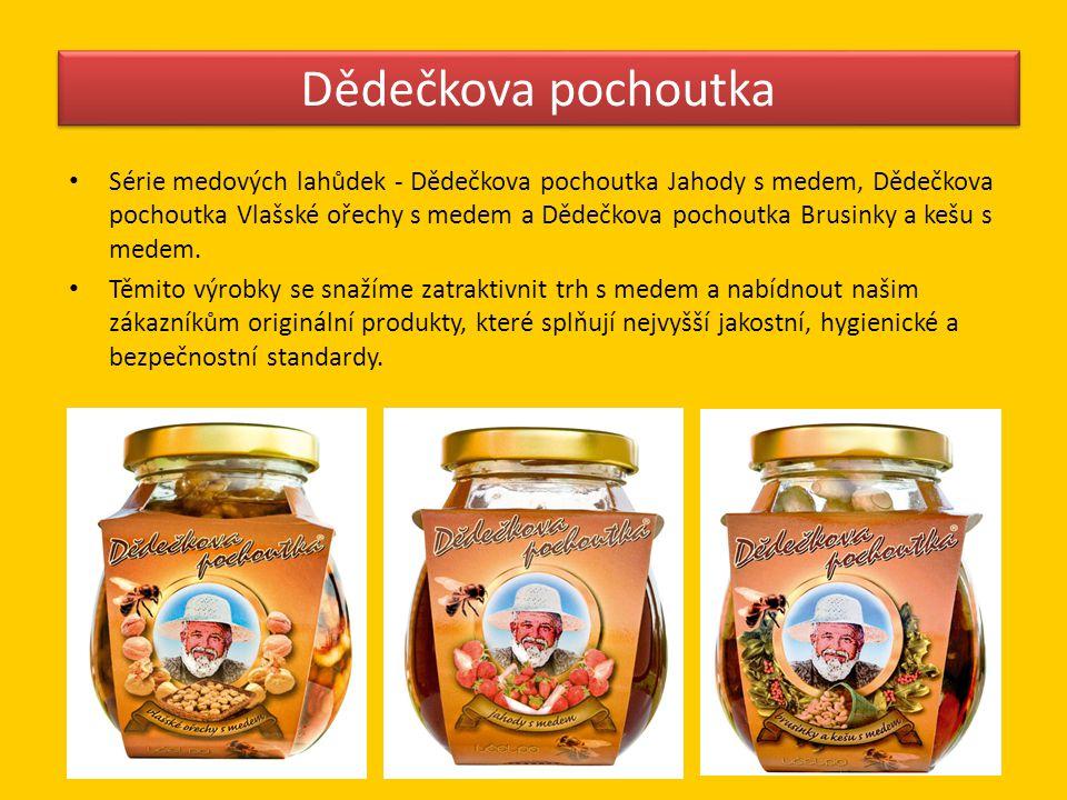 Dědečkova pochoutka • Série medových lahůdek - Dědečkova pochoutka Jahody s medem, Dědečkova pochoutka Vlašské ořechy s medem a Dědečkova pochoutka Br