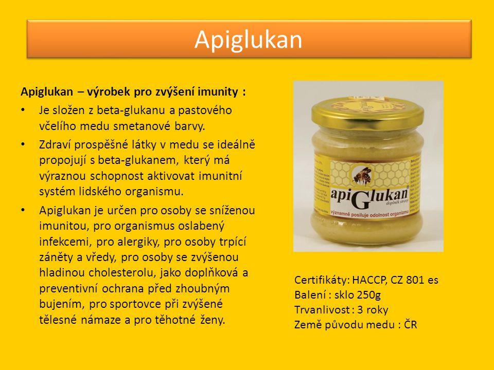Apiglukan Apiglukan – výrobek pro zvýšení imunity : • Je složen z beta-glukanu a pastového včelího medu smetanové barvy. • Zdraví prospěšné látky v me