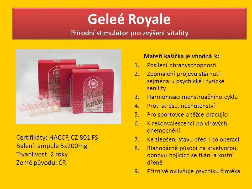 Geleé Royale Přírodní stimulátor pro zvýšení vitality Mateří kašička je vhodná k: 1.Posílení obranyschopnosti 2.Zpomalení projevu stárnutí – zejména u