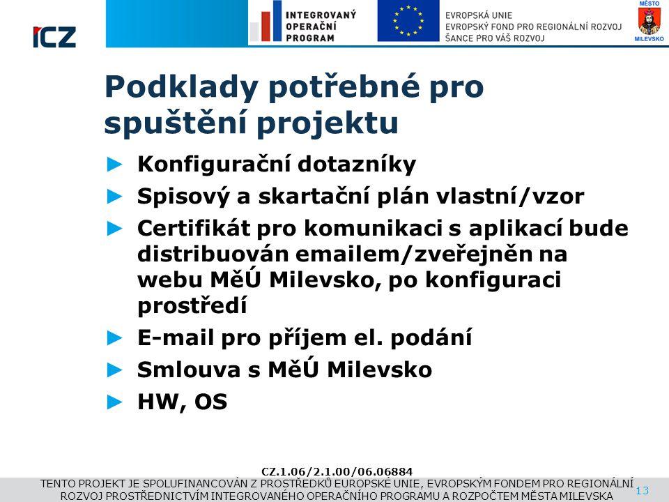 www.i.cz Podklady potřebné pro spuštění projektu ► Konfigurační dotazníky ► Spisový a skartační plán vlastní/vzor ► Certifikát pro komunikaci s aplika