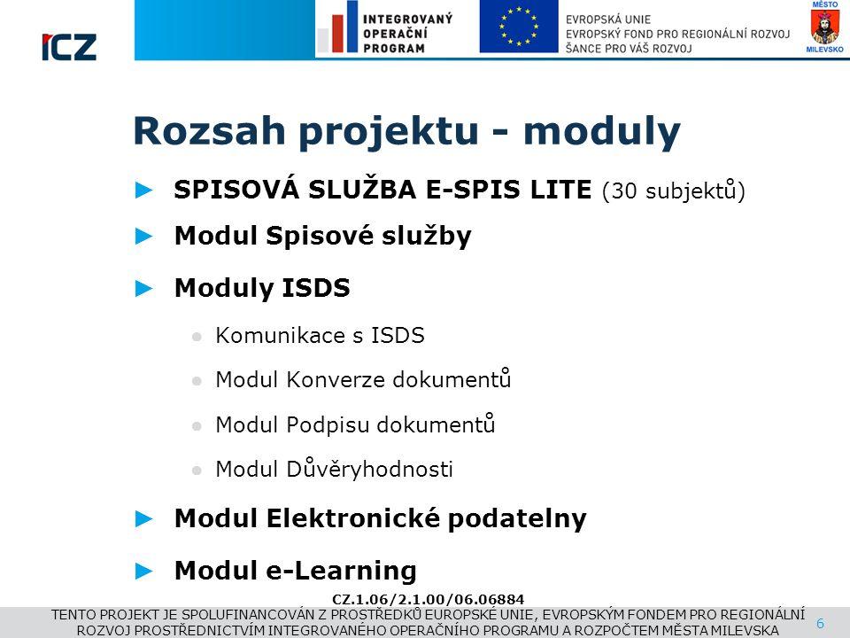 www.i.cz Rozsah projektu - moduly ► SPISOVÁ SLUŽBA E-SPIS LITE (30 subjektů) ► Modul Spisové služby ► Moduly ISDS ● Komunikace s ISDS ● Modul Konverze