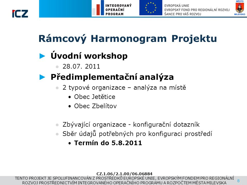 www.i.cz Rámcový Harmonogram Projektu ► Úvodní workshop ● 28.07. 2011 ► Předimplementační analýza ● 2 typové organizace – analýza na místě •Obec Jetět