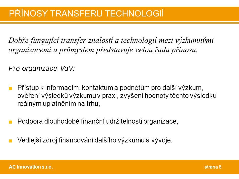 Dobře fungující transfer znalostí a technologií mezi výzkumnými organizacemi a průmyslem představuje celou řadu přínosů.