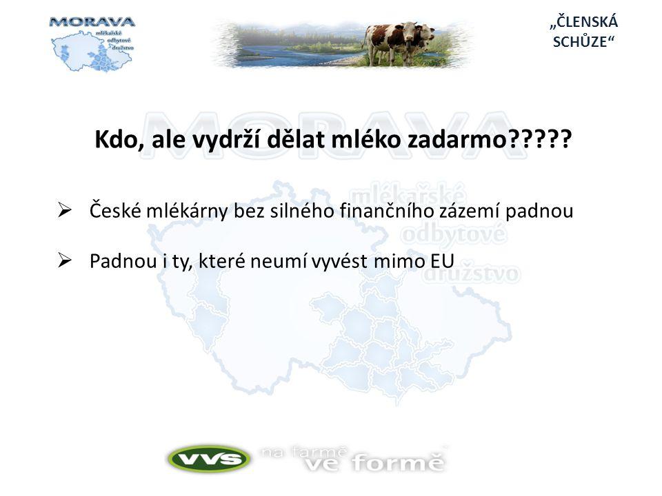 """""""ČLENSKÁ SCHŮZE  České mlékárny bez silného finančního zázemí padnou  Padnou i ty, které neumí vyvést mimo EU Kdo, ale vydrží dělat mléko zadarmo?????"""