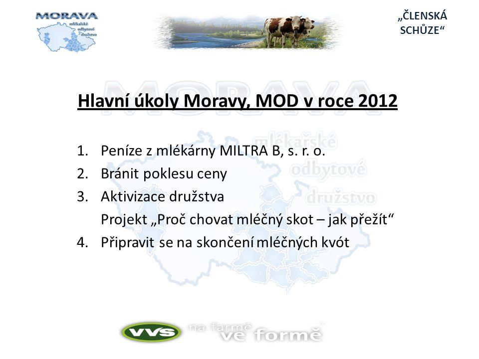 """""""ČLENSKÁ SCHŮZE Hlavní úkoly Moravy, MOD v roce 2012 1.Peníze z mlékárny MILTRA B, s."""