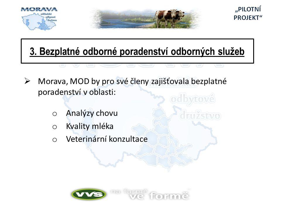 3. Bezplatné odborné poradenství odborných služeb  Morava, MOD by pro své členy zajišťovala bezplatné poradenství v oblasti: o Analýzy chovu o Kvalit