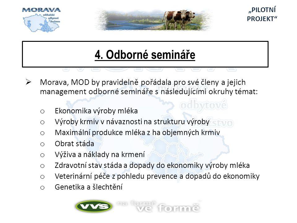 4. Odborné semináře  Morava, MOD by pravidelně pořádala pro své členy a jejich management odborné semináře s následujícími okruhy témat: o Ekonomika