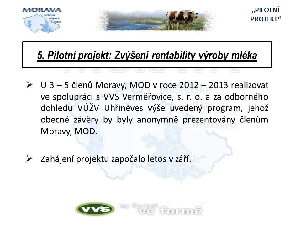 5. Pilotní projekt: Zvýšení rentability výroby mléka  U 3 – 5 členů Moravy, MOD v roce 2012 – 2013 realizovat ve spolupráci s VVS Verměřovice, s. r.