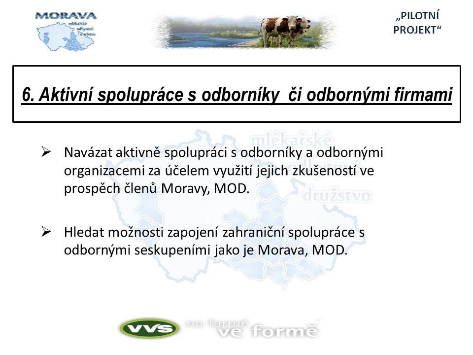 6. Aktivní spolupráce s odborníky či odbornými firmami  Navázat aktivně spolupráci s odborníky a odbornými organizacemi za účelem využití jejich zkuš
