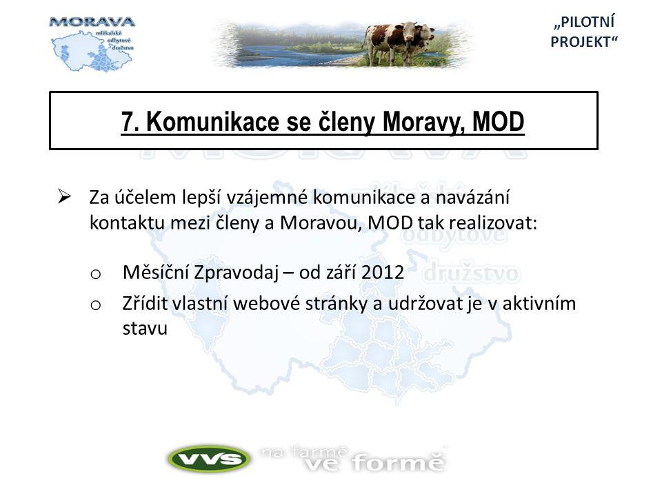 7. Komunikace se členy Moravy, MOD  Za účelem lepší vzájemné komunikace a navázání kontaktu mezi členy a Moravou, MOD tak realizovat: o Měsíční Zprav