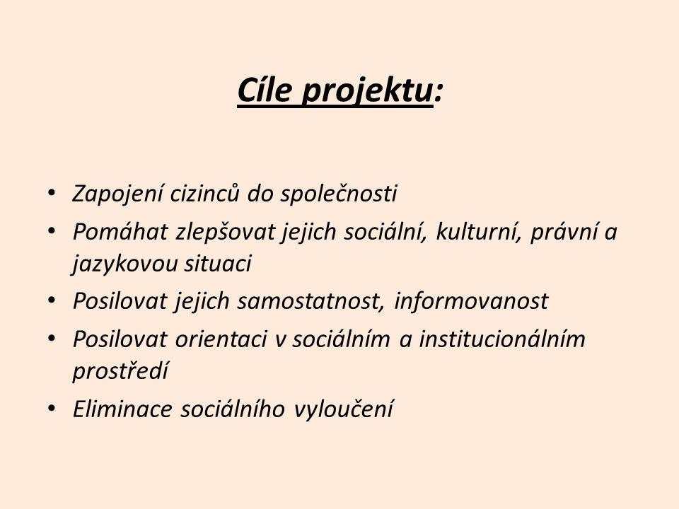 Cíle projektu: • Zapojení cizinců do společnosti • Pomáhat zlepšovat jejich sociální, kulturní, právní a jazykovou situaci • Posilovat jejich samostatnost, informovanost • Posilovat orientaci v sociálním a institucionálním prostředí • Eliminace sociálního vyloučení