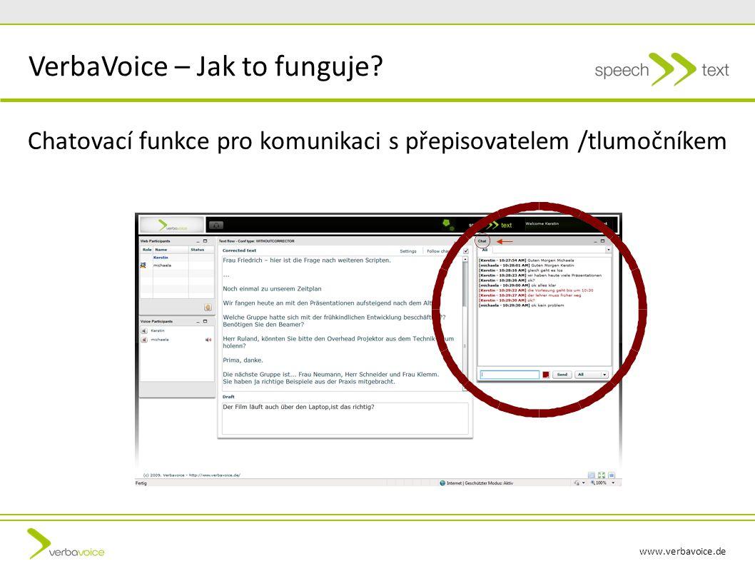www.verbavoice.de VerbaVoice-Prozess Chatovací funkce pro komunikaci s přepisovatelem /tlumočníkem VerbaVoice – Jak to funguje