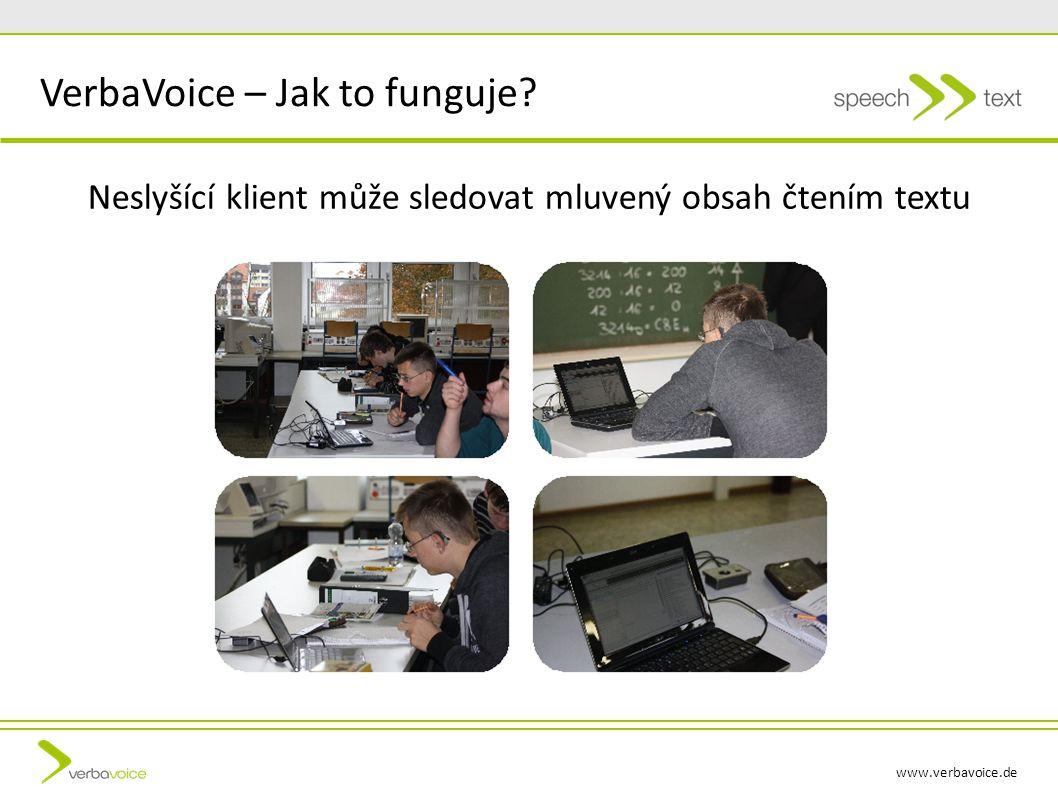 www.verbavoice.de Neslyšící klient může sledovat mluvený obsah čtením textu VerbaVoice – Jak to funguje