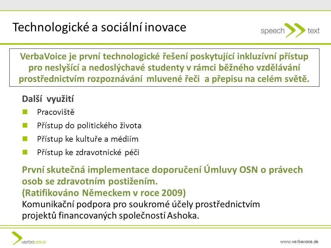 www.verbavoice.de VerbaVoice je první technologické řešení poskytující inkluzívní přístup pro neslyšící a nedoslýchavé studenty v rámci běžného vzdělávání prostřednictvím rozpoznávání mluvené řeči a přepisu na celém světě.