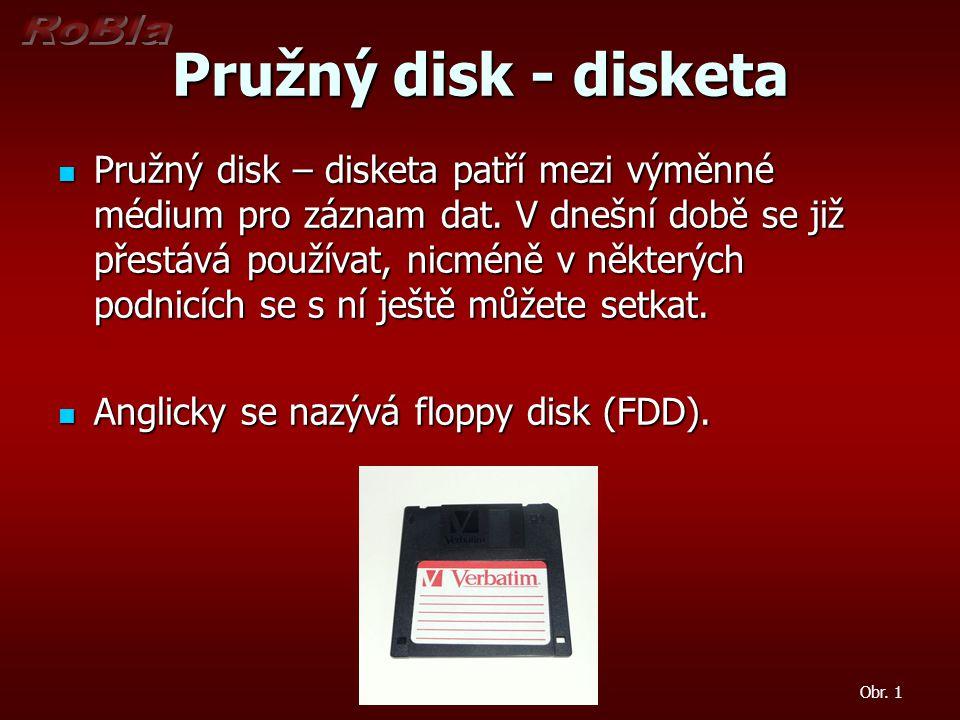 Pružný disk - disketa  Pružný disk – disketa patří mezi výměnné médium pro záznam dat. V dnešní době se již přestává používat, nicméně v některých po