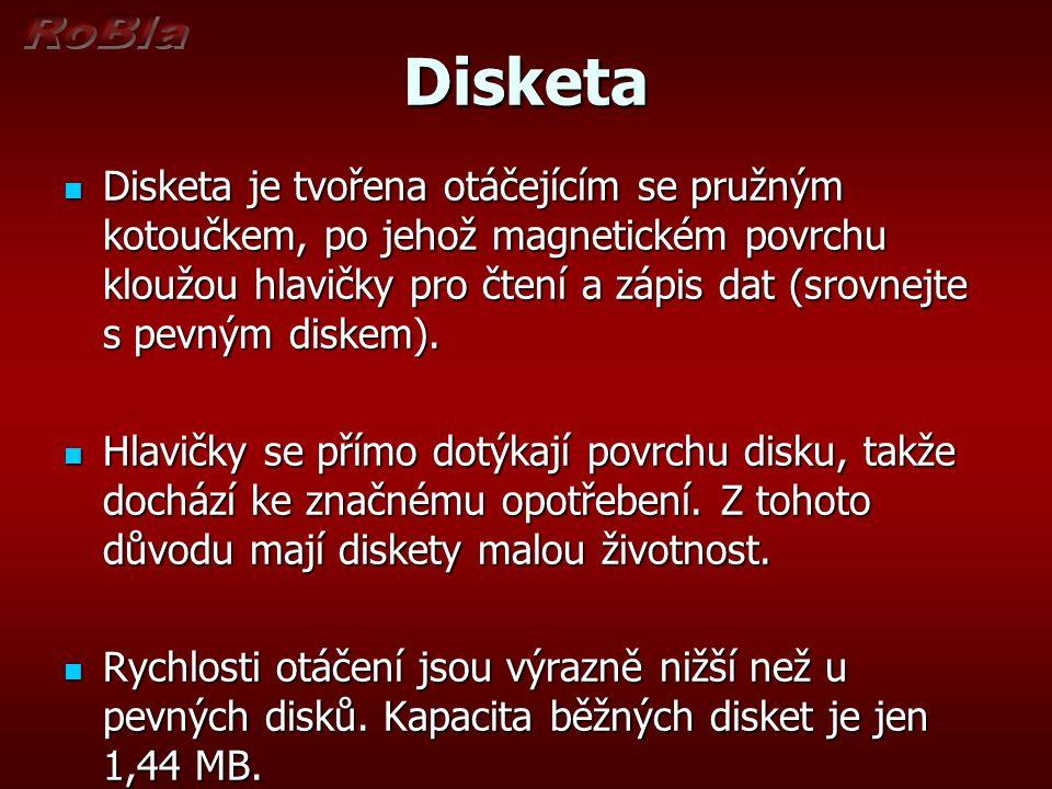 Disketa  Disketa je tvořena otáčejícím se pružným kotoučkem, po jehož magnetickém povrchu kloužou hlavičky pro čtení a zápis dat (srovnejte s pevným