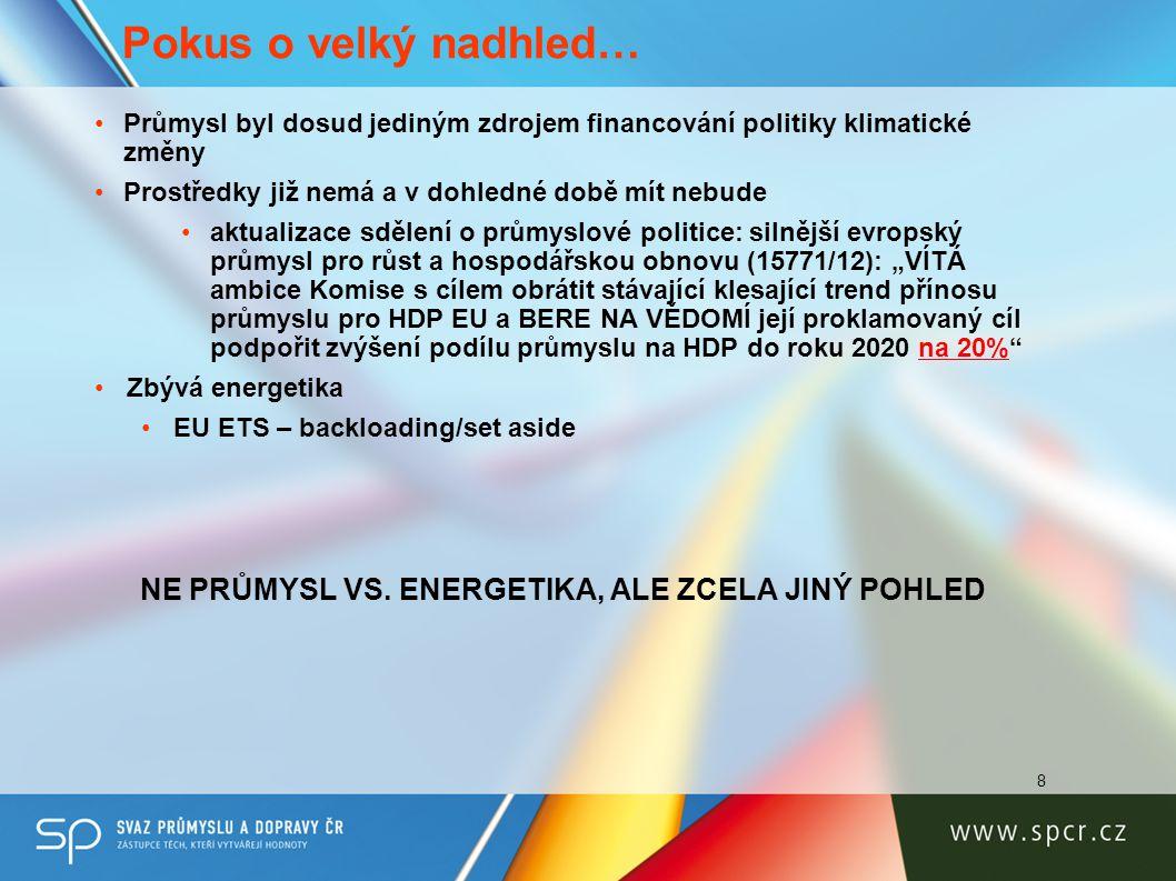 9 Pokus o velký nadhled… •Systémové nastavení energetiky •Využití Komunikace EK k IEM (COM(2012) 663) •očištění od neefektivních subvencí •poskytnutí stability na národní úrovni pro nadcházející 3-4 roky •Stimulační a podpůrná opatření pro stabilizaci a přežití průmyslu •Vysoké skupiny EK a Rady EU •Reindustrializační program EK •Horizon 2020 a přístup LE do kohezní politiky 2014-2020 •Využití výjimek na BAT (Čl.15 odt.4 IED) •Kongregace zdrojů pro posílení energetické efektivity/samostatnosti KOMUNIKACE VE SNAZE GENEROVAT ZODPOVĚDNOST, VIZI A TOLIK POTŘEBNÝ SPOLEČENSKÝ KONSENSUS