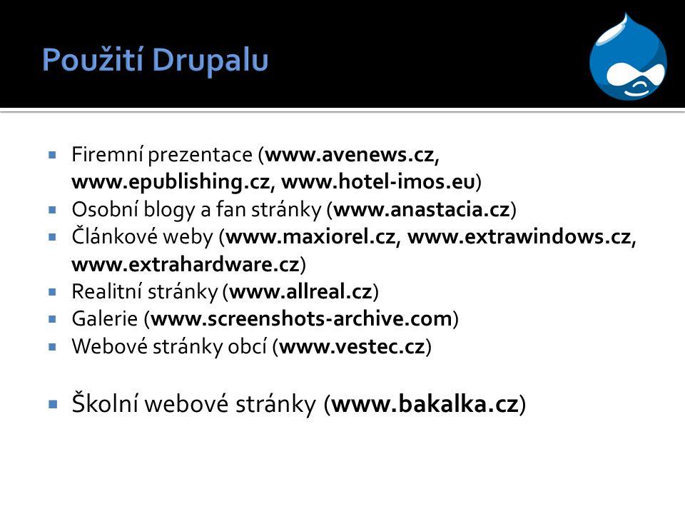  Firemní prezentace (www.avenews.cz, www.epublishing.cz, www.hotel-imos.eu)  Osobní blogy a fan stránky (www.anastacia.cz)  Článkové weby (www.maxiorel.cz, www.extrawindows.cz, www.extrahardware.cz)  Realitní stránky (www.allreal.cz)  Galerie (www.screenshots-archive.com)  Webové stránky obcí (www.vestec.cz)  Školní webové stránky (www.bakalka.cz)