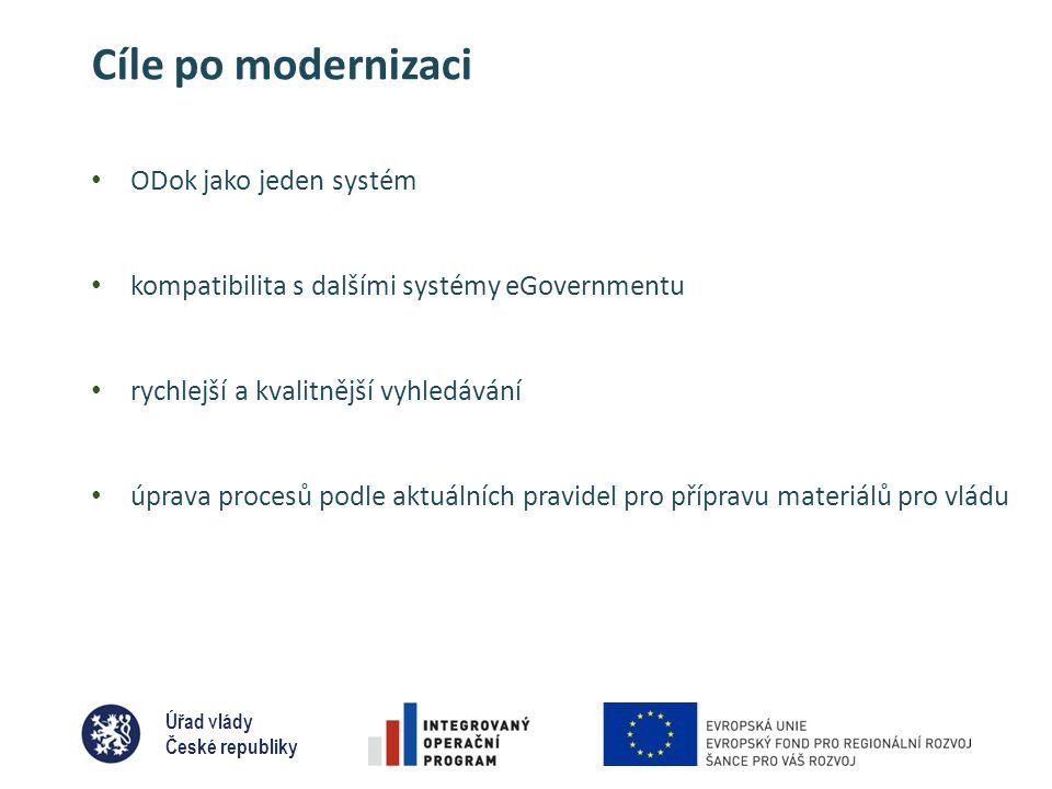 Úřad vlády České republiky Cíle po modernizaci • ODok jako jeden systém • kompatibilita s dalšími systémy eGovernmentu • rychlejší a kvalitnější vyhledávání • úprava procesů podle aktuálních pravidel pro přípravu materiálů pro vládu