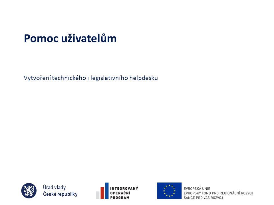 Úřad vlády České republiky Pomoc uživatelům Vytvoření technického i legislativního helpdesku
