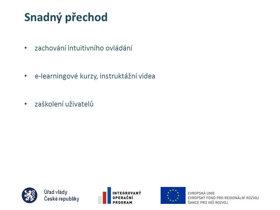 Úřad vlády České republiky Snadný přechod • zachování intuitivního ovládání • e-learningové kurzy, instruktážní videa • zaškolení uživatelů