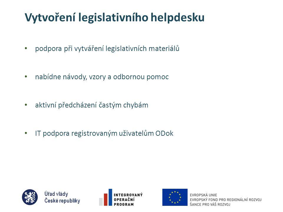 Úřad vlády České republiky Vytvoření legislativního helpdesku • podpora při vytváření legislativních materiálů • nabídne návody, vzory a odbornou pomoc • aktivní předcházení častým chybám • IT podpora registrovaným uživatelům ODok