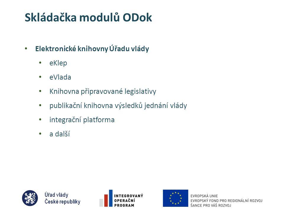 Úřad vlády České republiky Skládačka modulů ODok • Elektronické knihovny Úřadu vlády • eKlep • eVlada • Knihovna připravované legislativy • publikační knihovna výsledků jednání vlády • integrační platforma • a další