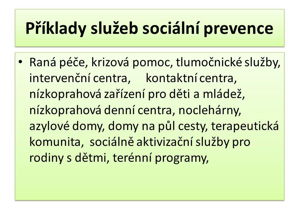 Příklady služeb sociální prevence • Raná péče, krizová pomoc, tlumočnické služby, intervenční centra, kontaktní centra, nízkoprahová zařízení pro děti