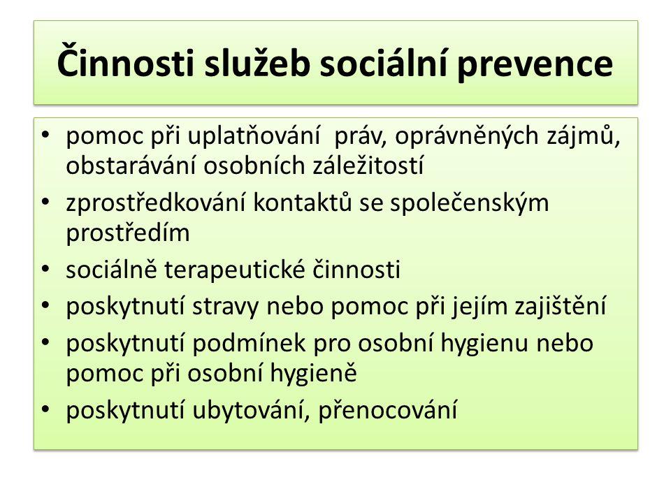 Činnosti služeb sociální prevence • pomoc při uplatňování práv, oprávněných zájmů, obstarávání osobních záležitostí • zprostředkování kontaktů se spol