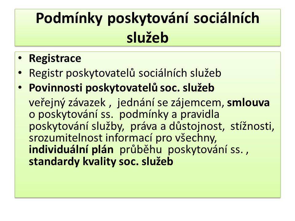 Podmínky poskytování sociálních služeb • Registrace • Registr poskytovatelů sociálních služeb • Povinnosti poskytovatelů soc. služeb veřejný závazek,