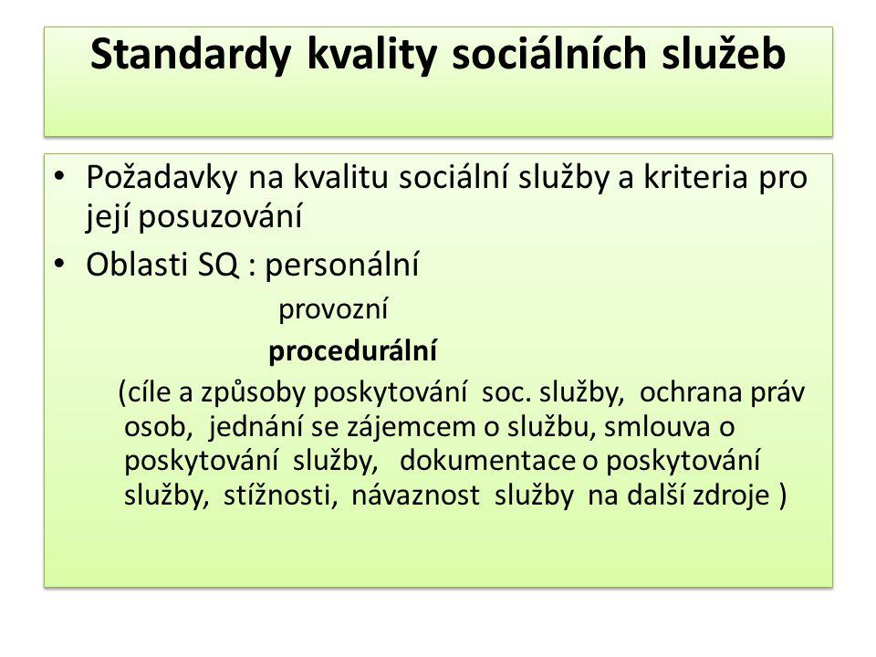 Standardy kvality sociálních služeb • Požadavky na kvalitu sociální služby a kriteria pro její posuzování • Oblasti SQ : personální provozní procedurá