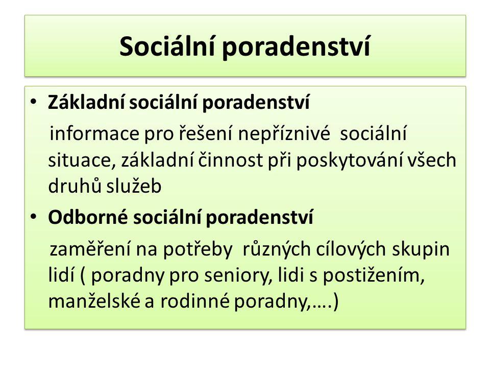 Sociální poradenství • Základní sociální poradenství informace pro řešení nepříznivé sociální situace, základní činnost při poskytování všech druhů sl