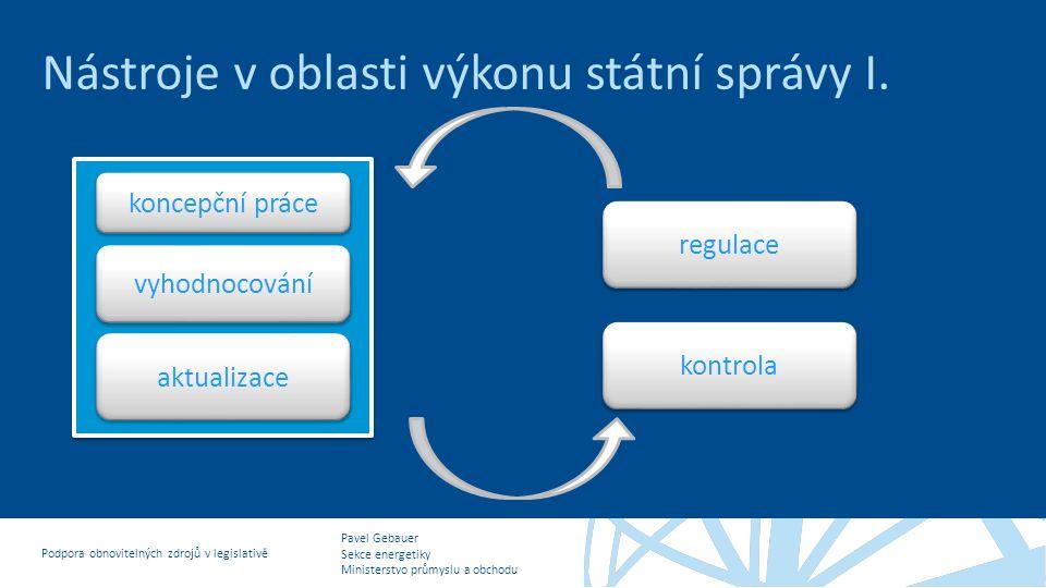 Pavel Gebauer Sekce energetiky Ministerstvo průmyslu a obchodu Podpora obnovitelných zdrojů v legislativě Nástroje v oblasti výkonu státní správy II.