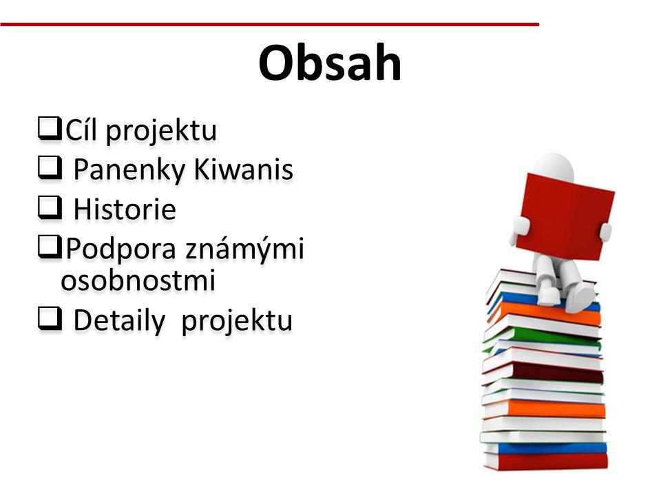 Obsah  Cíl projektu  Panenky Kiwanis  Historie  Podpora známými osobnostmi  Detaily projektu  Cíl projektu  Panenky Kiwanis  Historie  Podpor