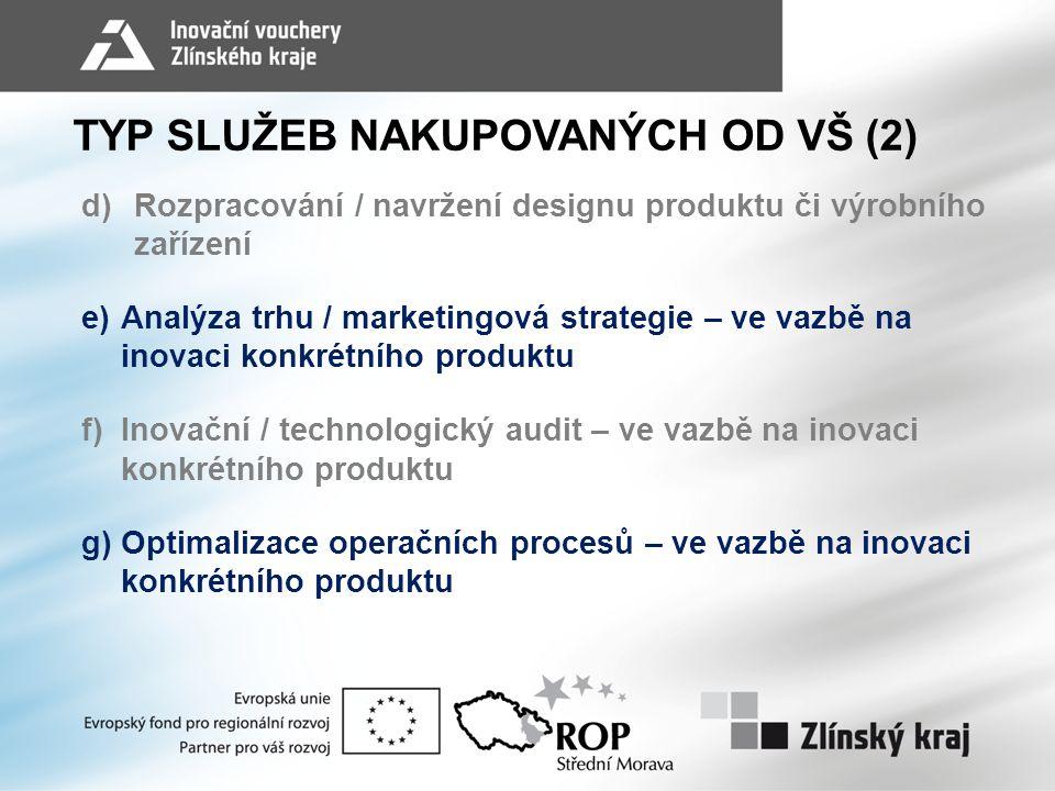 TYP SLUŽEB NAKUPOVANÝCH OD VŠ (2) d)Rozpracování / navržení designu produktu či výrobního zařízení e)Analýza trhu / marketingová strategie – ve vazbě na inovaci konkrétního produktu f)Inovační / technologický audit – ve vazbě na inovaci konkrétního produktu g)Optimalizace operačních procesů – ve vazbě na inovaci konkrétního produktu