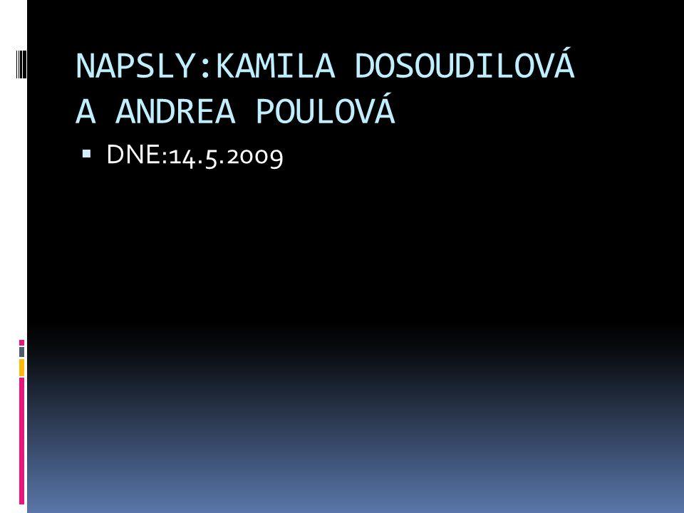 NAPSLY:KAMILA DOSOUDILOVÁ A ANDREA POULOVÁ  DNE:14.5.2009