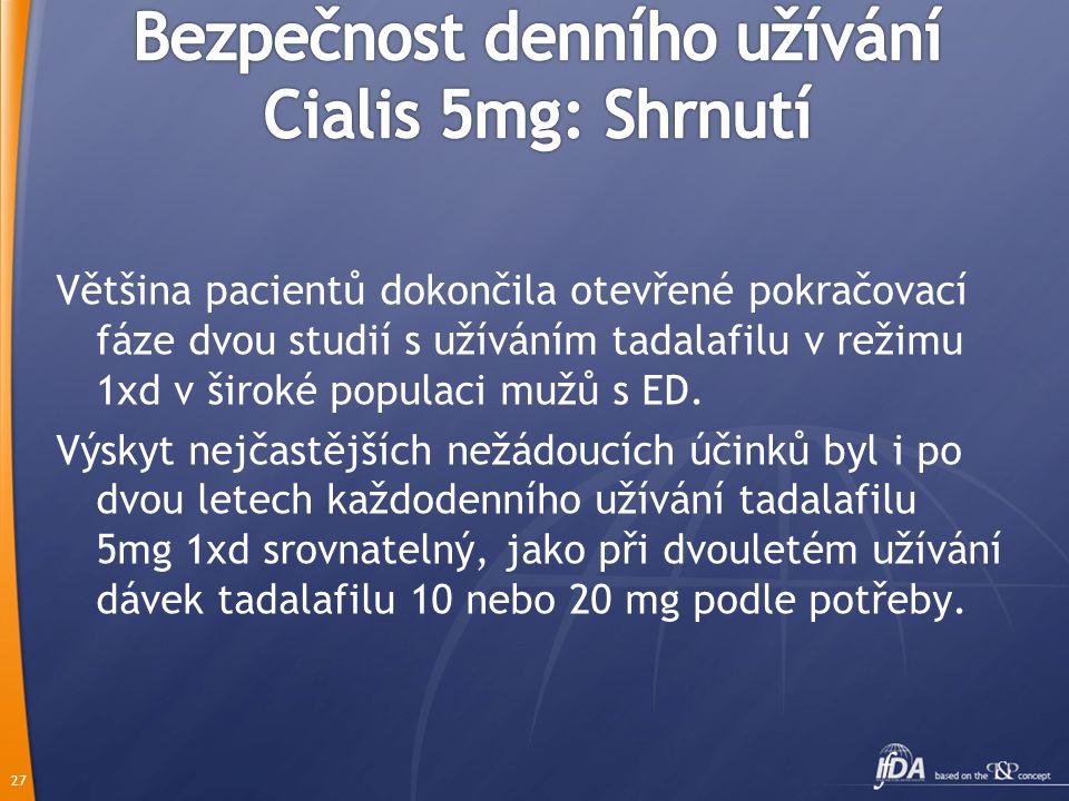 26 *kombinovaná data ze studií – velikost vzorku není aditivní: někteří pacienti užívající tadalafil v placebem kontrolovaných studích ho následně uží
