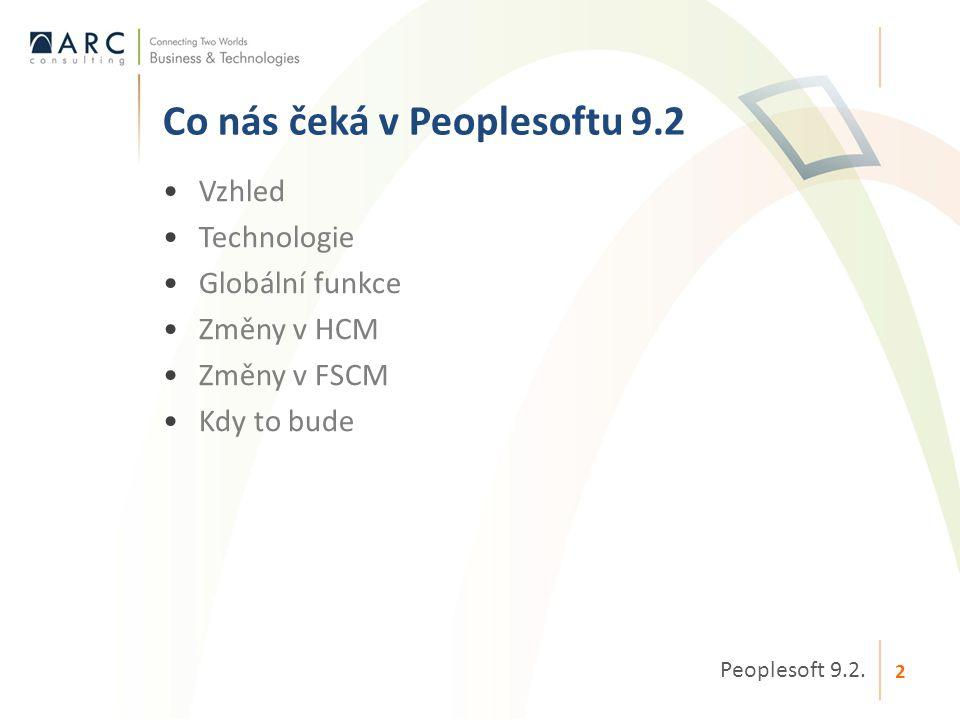 •Vzhled •Technologie •Globální funkce •Změny v HCM •Změny v FSCM •Kdy to bude Co nás čeká v Peoplesoftu 9.2 Peoplesoft 9.2. 2