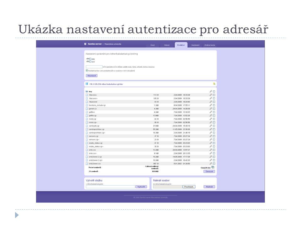 Ukázka nastavení autentizace pro adresář
