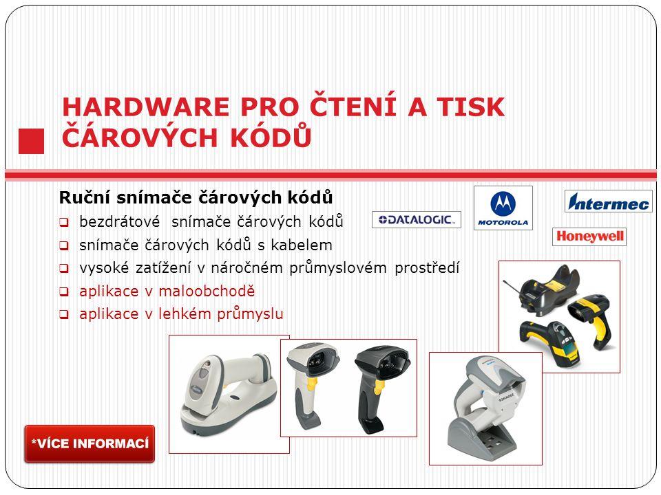 HARDWARE PRO ČTENÍ A TISK ČÁROVÝCH KÓDŮ Ruční snímače čárových kódů  bezdrátové snímače čárových kódů  snímače čárových kódů s kabelem  vysoké zatížení v náročném průmyslovém prostředí  aplikace v maloobchodě  aplikace v lehkém průmyslu